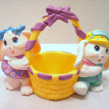 Hallmark, Easter, Boy Girl, Bunny, Basket,  Ceramic, Figurine, Decor, Plastic, Present, Collectible, Crayola, Rabbit, Colored, Kids, Gift