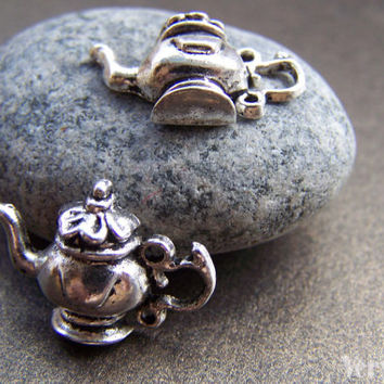 20 pcs of Antique Silver Half Teapot Charms 15x21mm A1294