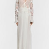 LA PERLA | Off-white organza and georgette robe with Leavers lace and soutache embroidery