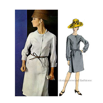 1960s Vogue 1503 DRESS PATTERN 3/4 Sleeves Dress Ronald Paterson Vogue Couturier UNCuT Womens Sewing Patterns Bust 36 Size 14 +Label RARE