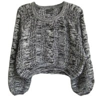 Grey Knitting Wool Pullovers with Bubble Sleeves