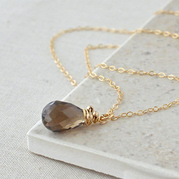 Smokey Quartz Pendant / Smokey Quartz Necklace / Brown Gemstone Necklace / Simple Gemstone Pendant / Wire Wrapped Jewelry / Gold Necklace