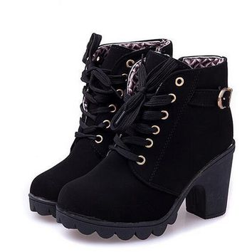 2016 New High Quality Women Boots Women Winter Boots High Quality Solid Lace-up Ladies