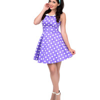 Lavender & White Polka Dot Collared Fit N Flare Dress