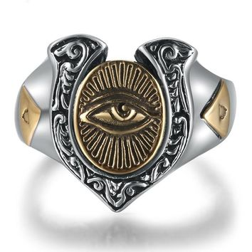 Third Eye, 925 Sterling Silver Rings, Gold Color Eye of Horus
