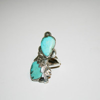 Beautiful Large Double Stone Silver Plated -Turquoise Vintage Native Inspired Ring Size 8 | FREE ship US