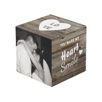 Rustic brown wood photo love cube
