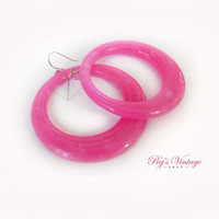 Retro Hot Pink Hoop Earrings, Plastic Dangle Pierced Earrings