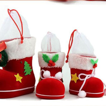 5pcs Cute Shoes Shaped Plastic Christmas Decoration Supplies Home Decor Pen Container Storage Box Christmas Candy Boots