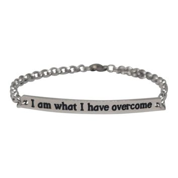 """I Am What I Have Overcome"" Stainless Steel Bracelet"