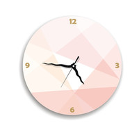 Wall clock soft pastel pink peach salmon beige kitchen clock home and living housewares and decor geometric wall clock bedroom wall art