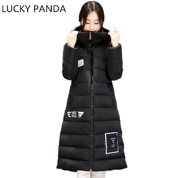 Lucky Panda 2016 Women Winter Down Cotton Jacket Long Women Coat Thick Female Warm Clothes Parka fur Hairball High Quality Coats