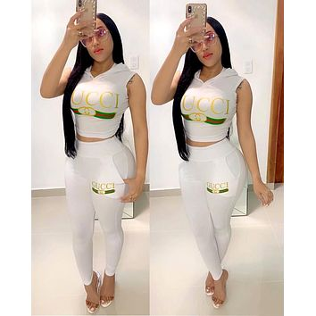 GUCCI new women's letter printing sports suit two-piece white