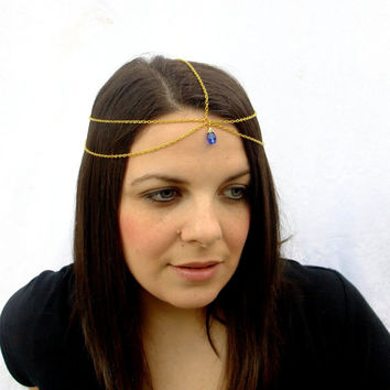 Gold and Sapphire Head Chain, Medieval Princess Headpiece,Choose Your Color, Gypsy Hair Piece, Gold Headpiece, Circlet, Boho Headpiece