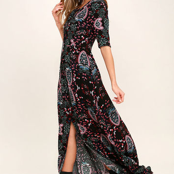 Standing Room Only Black Floral Print Maxi Dress
