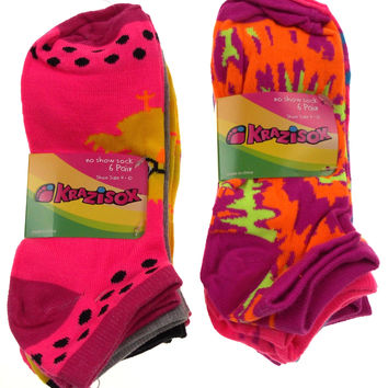 12 Pairs No Show Socks Krazisox Women Size 4-10 Owls Chicks Pink Purple Yellow