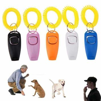 Pet Dog Training Clicker Trainer Aid Strap with Key Ring And Wrist Strap 5 Colors for Small Dog Sound Reflection Training Tools