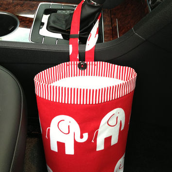 Car Trash Bag ~ Red Elephant ~ Red Striped Band ~ Gearshift Handle ~ Standard Lining