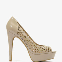 Perforated Floral Patent Pumps