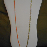 30 inch long Single Chain Gold and Orange Asymmetrical Layering Necklace