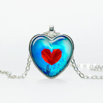 Heart container  legend of zelda pendant Heart necklace Heart jewelry  Heart shape Christmas gift