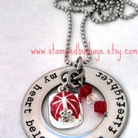Firefighter Firemans Necklace Firefighter My Heart Belongs to a Firefighter Necklace Firefighter wife