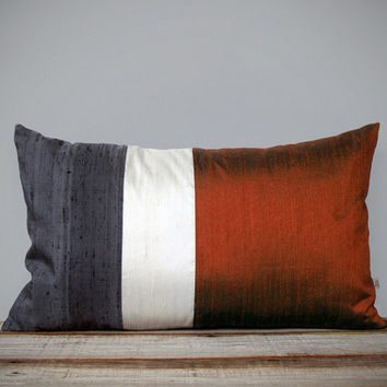 Silk Color Block Pillow (12x20) Copper, Cream + Charcoal by JillianReneDecor - Fall/Winter 2013 - Holiday Preview - Rust Color Block