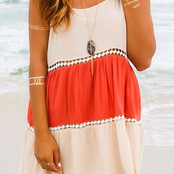Color Block Lace Insert Backless Beach Dress