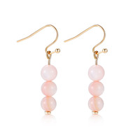 MIGGA Brand 2 Colors Cute Natural Stone Balls Beaded Drop Earrings Gold Plated Fashion Women Jewelry