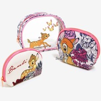 Licensed cool Loungefly Disney Bambi Deer & Butterfly Flowers Cosmetic Make-Up Tote Bag 3 Set