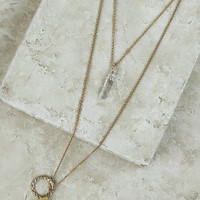 Rock Solid Layered Necklace in Amber