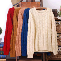 Casual Wild Round Neck Cable Knit Jumper Pullover Sweater
