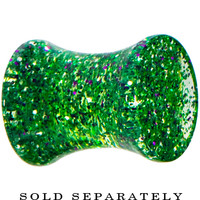 2 Gauge Green Ultra Glitter Saddle Plug | Body Candy Body Jewelry