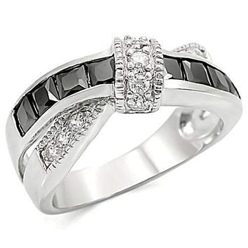 WildKlass Stainless Steel Anniversary Ring High Polished (no Plating) Women AAA Grade CZ Jet