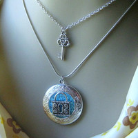 2 in 1 Locket Necklace, Lock Key Locket, Lock Key Necklace, 2 for 1 Necklace, Layered Necklace, Him and Her Jewelry, Blue Glass Locket