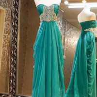 Gorgeous Sweetheart Sweep Train Beaded Prom Dresses