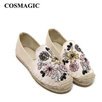2016 Platform Flower Rhinestone Espadrilles Shoes Flats Shoes Luxury Brand  Hemp Rope Women Casual Loafer Shoes Free Shipping