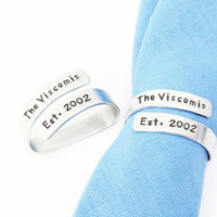 Unique wedding gifts - Personalized name and wedding date gifts - Customized napkin rings - Name and date napkin rings (Set of 2, 3, etc.)