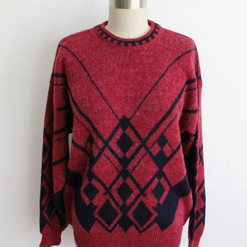 Vintage 80s Unisex Red & Black Fuzzy Knit Deco Geometric Sweater