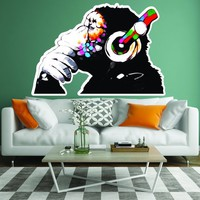 Thinking Monkey Wall Art Print Sticker - Banksy Dj Chimp Decal - The Thinker Gorilla With Headphones Home Decals - Street Art Graffiti Mural