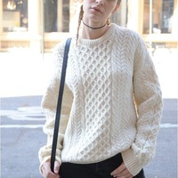 Vintage Ivory Irish Knit Sweater