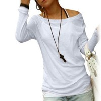 Amazon.com: Allegra K Long Sleeve Boat Neck Autumn Shirt Top for Ladies Woman: Clothing