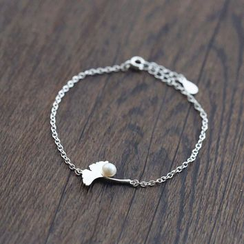 Awesome Great Deal Gift Hot Sale Stylish Shiny New Arrival Pearls Ladies Silver Leaf Jewelry Accessory Bracelet [10467597652]