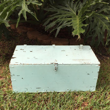 WWII Military Foot Locker Wooden  Storage Box with Metal Hinges