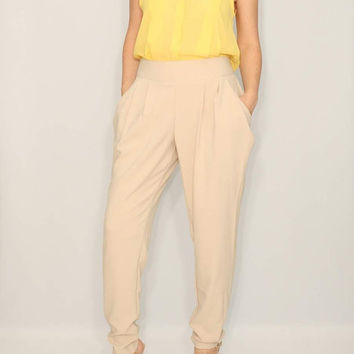 Harem Pants Beige Pants for Women Double Draped Pockets