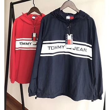 Tommy Hilfiger Women Men Fashion Hooded Zipper Cardigan Sweatshirt Jacket Coat Windbreaker