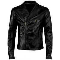 Handmade Black leather Jacket, men slim leather jacket hand carfted, men black leather jacket