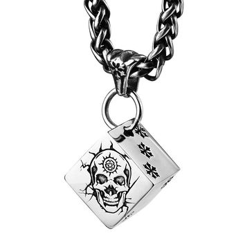 Skull Dice pendant with snow stainless steel fate necklace fo ac7a15e5c4d9
