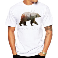 2016 New Arrivals Fashion Bear Design Men's T Shirt Boy Cool Style Tops Casual T-shirt