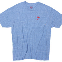 Red Palm Embroidered on Blue Tri-blend Tee by Altru Apparel